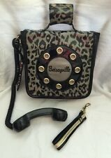 Betsey Johnson Phone Bag Handbag  Betseyville Wristlet Black Gray Cheetah