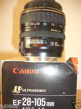 BOXED CANON EF 28-105MM F/1:3.5-4.5 ULTRASONIC ZOOM LENS~CAP~INSTRUCTIONS 17M13