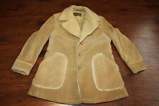 ROBERT LEWIS IDEA Sheep  Shearling Rancher Coat With  Suede Fur Tan Size 42