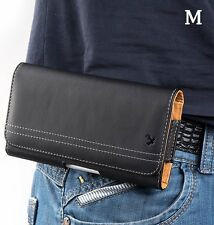 for iPhone 6 / 7 - HORIZONTAL BLACK Leather Pouch Holder Belt Clip Holster Case