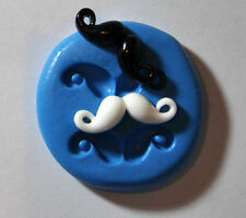 Mini Mustache Silicone Push Mold Polymer clay Resin Miniature wax backing cake