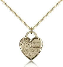 """Gold Filled Saint Michael The Archangel Heart Medal Necklace For Women 18"""" Chain"""