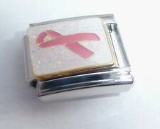 PINK RIBBON Italian Charm 9mm Breast Cancer Awareness Survivor Classic Size