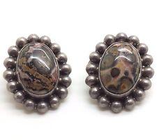 Taxco Fine Oval Jasper Clip On Sterling Silver 925 Earrings 16g BCE380