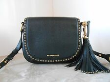 New MICHAEL KORS Brooklyn MD Saddle Bag Grommet LEATHER $398 BLACK GOLD