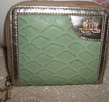 Gorgeous JLO Jennifer Lopez Zip Around Gold & Green Wallet with Diamond Gems