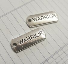 Word Charms WARRIOR Charms Pendants Inspirational Antiqued Silver Tag Charms 10p