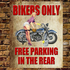 BIKERS PARKING LARGE METAL VINTAGE STYLE TIN SIGN GARAGE WORKSHOP GIFT