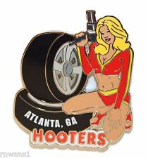 HOOTERS SEXY NASCAR RACING PIT CREW GIRL KENNESAW GA LAPEL PIN TIRES/AIR RATCHET