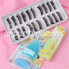 10 Pairs Black Long Thick False Fake Eyelashes Eye Lashes with Applicator Glue