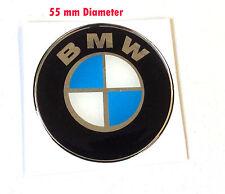BMW Redondo adhesivos/pegatinas 55MM cromado/azul-alta BRILLO ABOVEDADO GEL