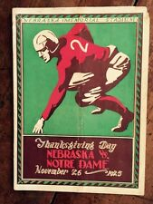1925 Historic NEBRASKA vs NOTRE DAME Early Football Program KNUTE ROCKNE!
