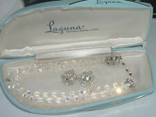Vintage Laguna Crystal Necklace and Earrings Set in Original Box