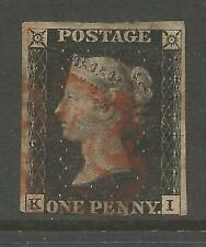 1840 PENNY  BLACK (KI)) 3 MARGINS  CANCELLED BY A RED MALTESE CROSS SEE SCANS
