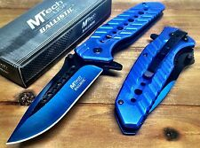 MTECH  Spring Assisted Open Blue  BOWIE Tactical Rescue Pocket Knife A925BL