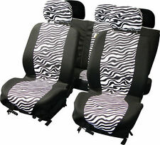 BRAND NEW CAR INTERIOR ZEBRA PRINT 9 PIECE CAR SEAT COVERS SET