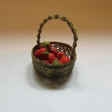 Artisan made strawberries in a basket ~ doll house miniature food ~ 1/12