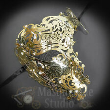 Womens Half Skull Phantom Venetian Filigree Metal Masquerade Mask [Gold]