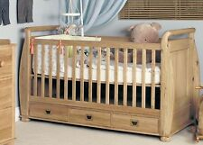 Jayden childrens bedroom furniture oak baby cot cotbed