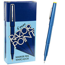 Pilot Razor Point Pens 11004, Blue 0.3mm Extra Fine Plastic Point Pen, 1 Dozen
