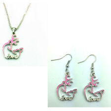 HOT 1 set of Browning Deer with LOVE Necklace & earrings Fashion Jewelry!pink