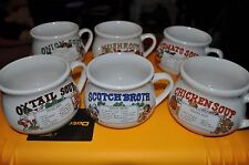 Set of 6 Vintage 16oz Soup Crocks, Stoneware with Soup Recipes