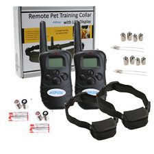 2 Pack LCD 100LV 300 Yards Electric Shock Vibration Remote Dog Training Collars