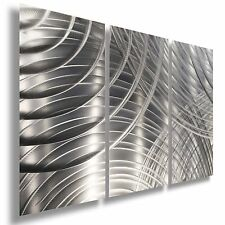 Modern Silver Metal Art - Hand-Etched Abstract Wall Sculpture - Eternity