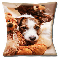 """NEW CUTE JACK RUSSELL PUPPY BROWN  WHITE CUDDLING TEDDY 16"""" Pillow Cushion Cover"""
