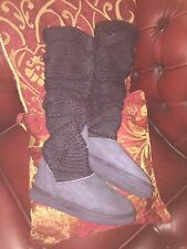 Mou Bandeau 60 knitted knee high sheepskin boots size 5 38 worn twice excellent