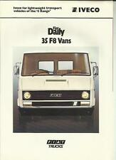 IVECO FIAT DAILY 35 F8 CHASSIS CAB TRUCK LORRY OCT.1978 FOR 1979 SALES BROCHURE