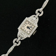 Vintage Blancpain Platinum 3.0ctw Baguette & Single Cut Diamond Ladies Watch