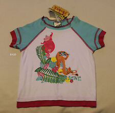 Madagascar Girls White Blue Pink Printed T Shirt Size 6 New