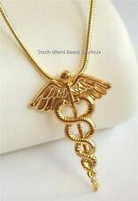 Gold Caduceus Necklace Pendant Doctor Medical Nurses Nurse Graduation Gift MD RN