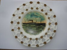 C1910UNITED STATES LINES S.S.MINNEHAHA SOUVENIR MILK GLASS RIBBON PLATE