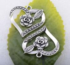 Wholesale 3pcs Tibet silver Rose flowers hollow out in heart charm pendant#A5499