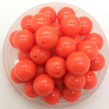 New 6mm 100Pcs Orange Acrylic Round Pearl Spacer Loose Beads DIY Jewelry Making