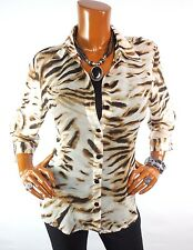 CHICO'S Sz 1 Womens Top S M New Button Down Blouse Casual Shirt Sheer Animal