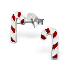 Childrens Girls Sterling Silver Christmas Candy Cane Santa Earrings 925 Boxed