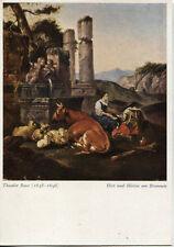 Alte Kunstpostkarte - Theodor Roos - Hirt und Hirtin am Brunnen