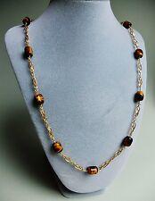 Goldkette 333er Gelbgold mit Tigerauge , Tigeraugekette, Necklace 8K, 63 cm