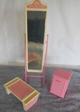 1987 Barbie Doll Bedroom Sweet Roses Accessory Set Mirror Tray Side Table/Drawer