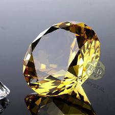 30mm Gold Crystal Diamond Shape Paperweight Facet Cut Glass Jewel Wedding Gifts