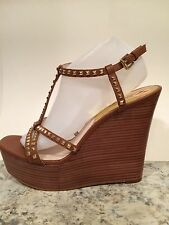Michael Kors Sandals Ankle T-Strap Platform Wedge Studded Brown Luggage 11 M New
