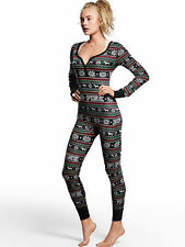 Victorias Secret PINK Fair Isle Long Jane Thermal Onesie Pajama SMALL Black