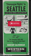 WESTERN AIRLINES 1955 CHAMPAGNE FLIGHTS TO SEATTLE NONSTOP CALIFORNIAN AD