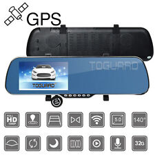"Toguard 5"" Android HD 1080P GPS Car DVR Front Rear Camera Cam Rearview Mirror"