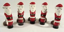 5 Vintage Santa Claus Ceramic Napkin Rings Holders