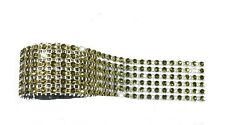 6 Rows Sparkling Gold Diamante Ribbon Cake Crafts Flower Wrap Acrylic 30cm