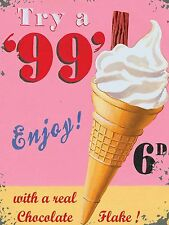 Try a 99 Ice Cream Flake Summer Large Vintage Retro Metal Wall Tin Sign 30x40cm